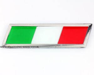 Enamel Chrome ITALIAN FLAG Car Badge Fiat Alfa Italy Italia