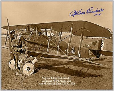 "EDDIE RICKENBACKER WWI FLYING ACE 1918 Aviation Pioneer w/autograph 8"" x 10"" RP"