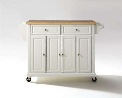 Crosley Furniture Natural Wood Top Kitchen Cart/Island in White - KF30001EWH