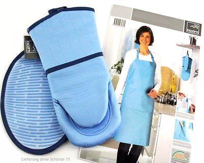 hochwert. 2-tlg. Küchen-Set in blau: Topflappen &Topfhandschuh Baumwolle/Silikon