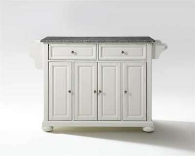 Crosley Alexandria Solid Granite Top Kitchen Island White - KF30003AWH
