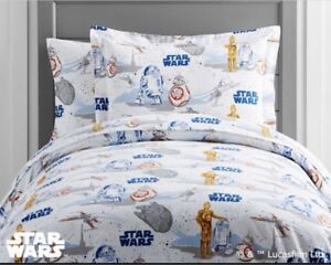 Pottery Barn Kids STAR WARS Droid TWIN Sheets/Cases Retail $192!
