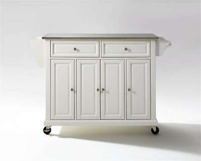 Crosley Stainless Steel Top Kitchen Cart/Island in White - KF30002EWH