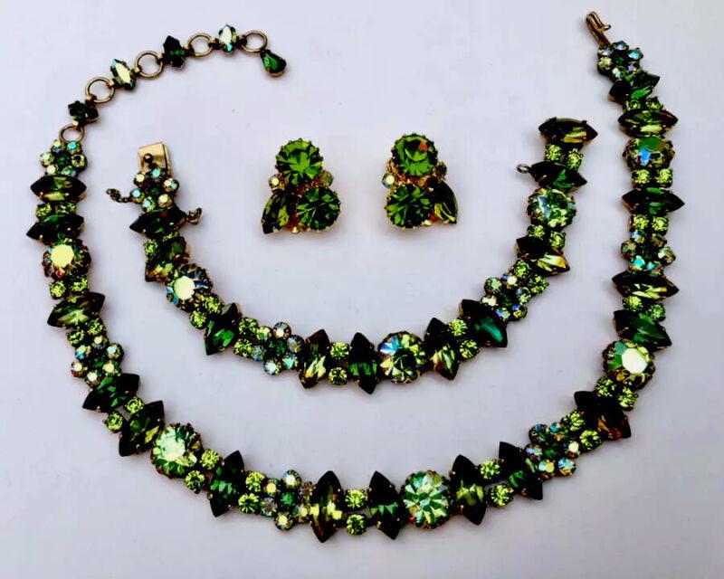 Rare & Stunning Signed Schreiner Emerald Green Necklace Bracelet +++💕💕