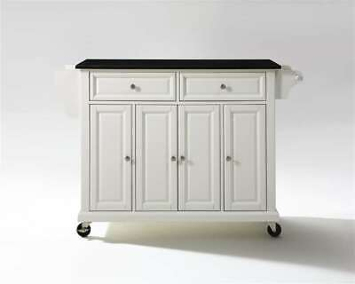 Crosley Solid Black Granite Top Kitchen Cart/Island White - KF30004EWH