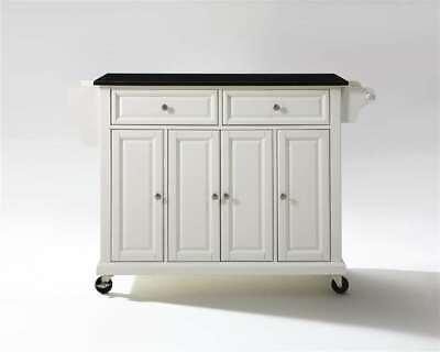 Crosley Solid Black Granite Top Kitchen Cart/Island White - KF30004EWH