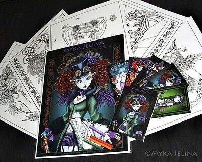- Fairy Art Adult Coloring Fantasy Steampunk Rockabilly Myka Trading Card Set 3