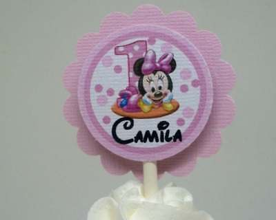 Baby Minnie Mouse 1st Birthday Pink Cupcake Topper's...Set of - Minnie Mouse 1st Birthday Cupcake Toppers