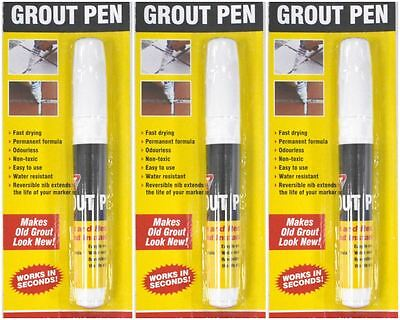 SET OF 3 GROUT PENS WHITE-  DRYING/NON-TOXIC,EASY WATER RESISTANT ODOURLESS FAST