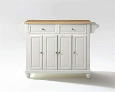 Crosley Cambridge Natural Wood Top Kitchen Island, White - KF30001DWH