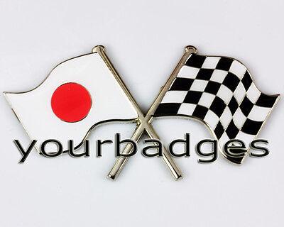 Enamel Chrome Japanese FLAG & chequered flag crossing Car Badge Japan Mazda