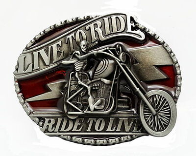 LIVE TO RIDE SKULL ON MOTORCYCLE BELT BUCKLE RIDE TO LIVE BIKER