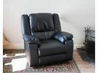 Black Leather Effect Manual Recliner Chair