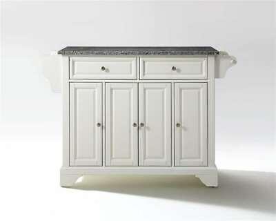 Crosley LaFayette Solid Granite Top Kitchen Island in White KF30003BWH