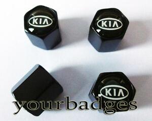 Alta-Calidad-Cromo-Metal-negro-Kia-Valvula-Funda-Neumatico-Tapas-CUBREPOLVO