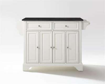 Crosley Lafayette Solid Black Granite Top Kitchen Island in White - KF30004BWH