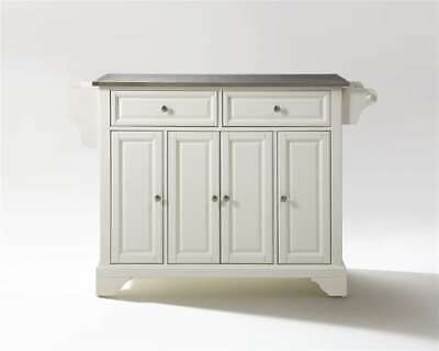 Crosley LaFayette Stainless Steel Top Kitchen Island White KF30002BWH