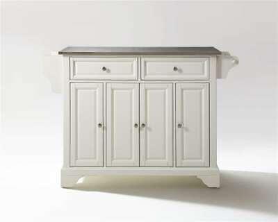 Crosley LaFayette Stainless Steel Top Kitchen Island White KF30002BWH