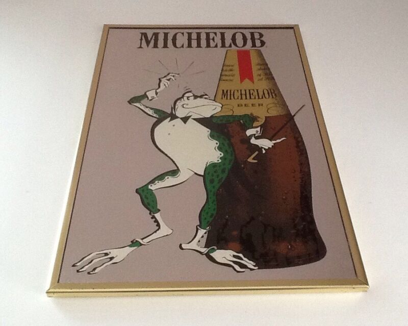 MICHELOB BEER MIRROR COQUI FROG BAR ADVERTISING SIGN VINTAGE RARE