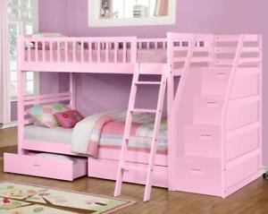 True Contemporary Fraser Pink Twin over Twin Bunk Bed with Stairs and Storage Drawers in Canada