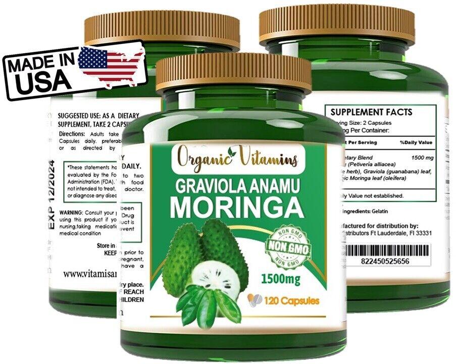 GRAVIOLA EXTRACT 120 Capsules Soursop Annona Muricata Antioxidant Health anamu