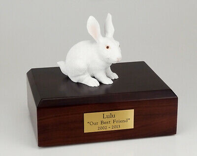 Rabbit White Figurine Pet Cremation Urn Available 3 Different Colors & 4 Sizes ()