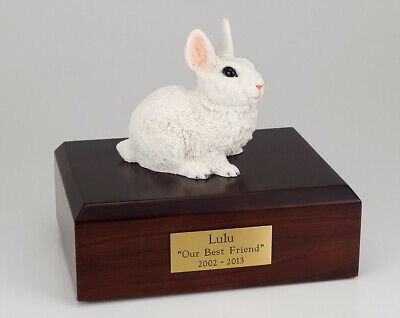 Rabbit White Figurine Pet Cremation Urn Available in 3 Different Colors & 4 Size ()