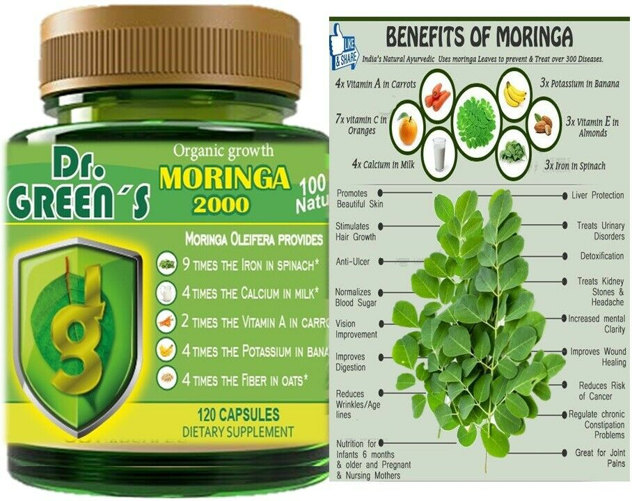 120 capsules MORINGA OLEIFERA LEAF powder 2000 -PHIL-  FREE SHIP pure moringa 3