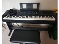 Yamaha DGX-650 Digital Piano with Piano Stand, Throne, Pedals & Sennheiser HD 280 Pro Headphones