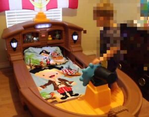Pirate toddler bed with storage and LED lights