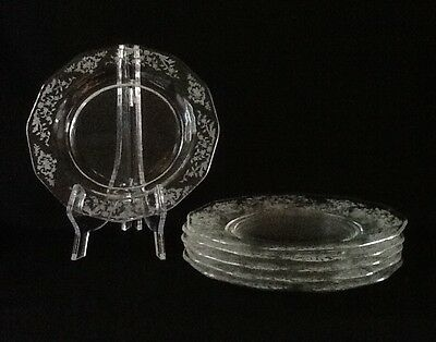 Vintage Fostoria Navarre Etched Design Crystal Bread and Butter Plates