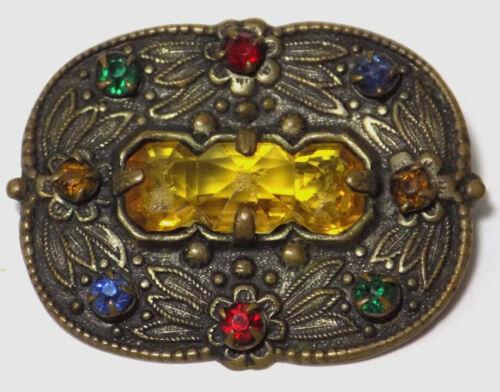 Vintage Oval Brass Brooch Stylized Flowers Colorful Rhinestones