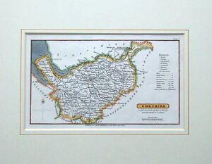 CHESHIRE Whitaker hand coloured, mounted  original antique map 1824
