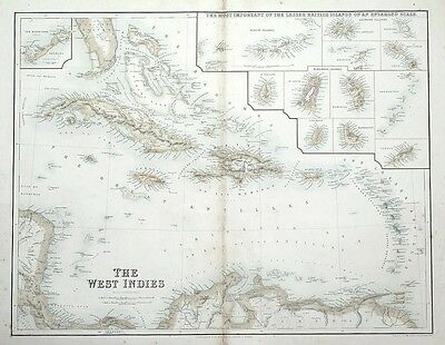 WEST INDIES, CARIBBEAN, BERMUDA, BRITISH ISLANDS, Fullarton antique map c1860