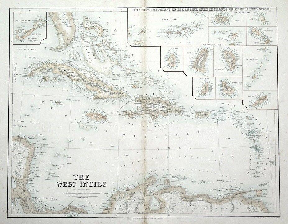 WEST INDIES, CARIBBEAN, BERMUDA, BRITISH ISLANDS, Fullarton antique ...
