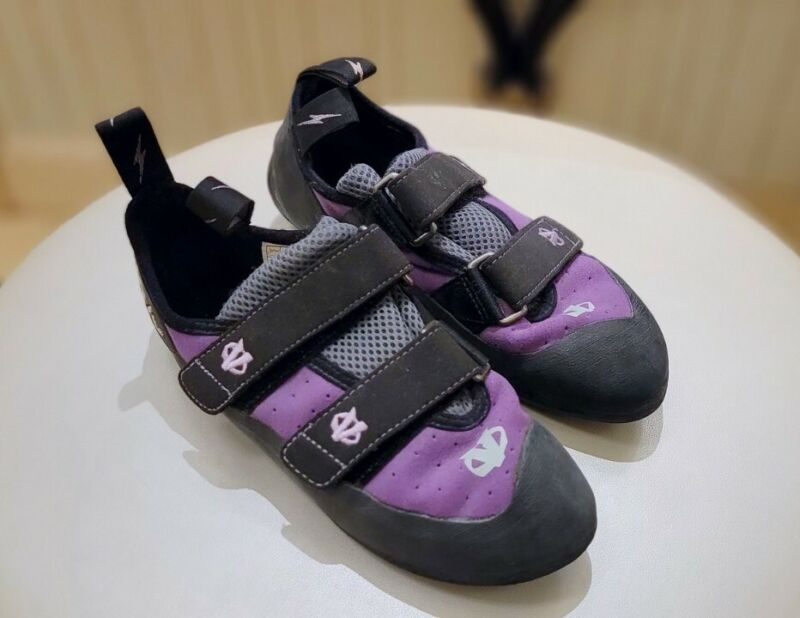 Evolv VTR 3D Eco-Trax Rubber Purple Rock Climbing Bouldering Shoes Women