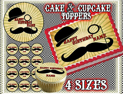Mustache cake toppers Edible image FROSTING SHEET birthday paper saloon picture  - Mustache Birthday Cake