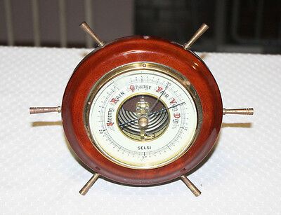 Vintage Selsi Barometer Brass Wood Nautical Ships Wheel  Made in Germany