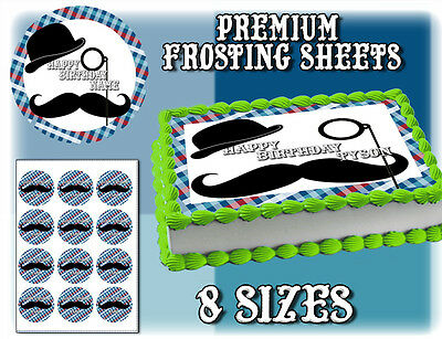 Mustache cake toppers Edible image FROSTING SHEET birthday paper picture - Mustache Birthday Cake