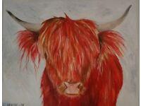 Original Acrylic Highland Cow Painting