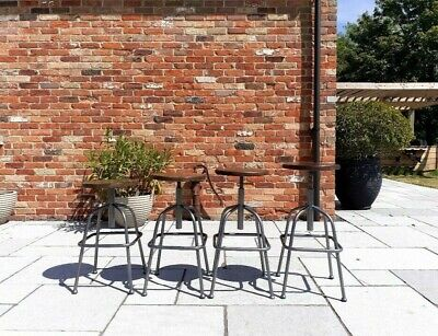Adjustable height, steel bar stool with wooden seats (in good condition).
