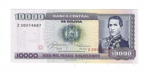 Bolivia - Ten Thousand (10,000) Bolivianos, 1984  !!Replacement!! !!UNC!!