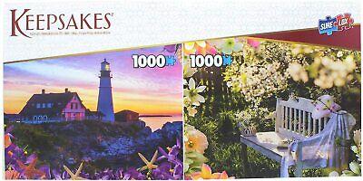 Set of 2, 1000 Pieces Each Jigsaw Puzzles Garden & Lighthouse - Sure Lox