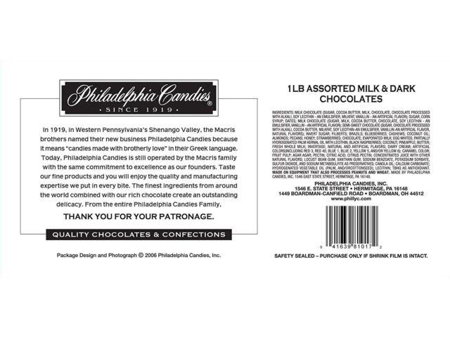 Philadelphia Candies Assorted Milk And Dark Boxed Chocolates, 1 Pound Gift Box