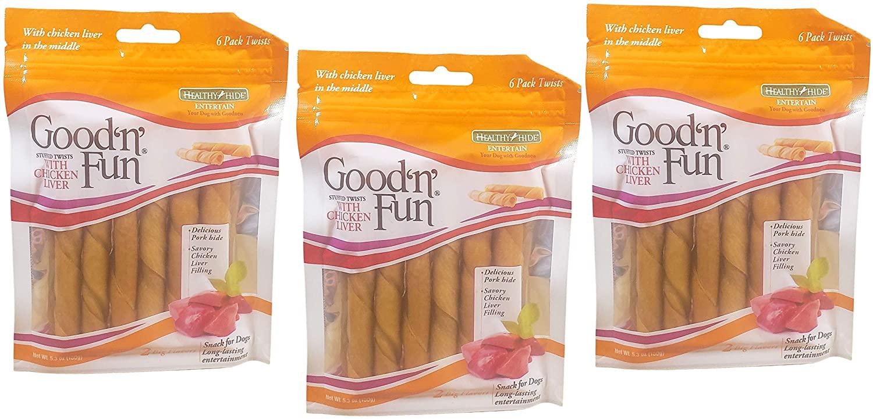 Good'N'Fun Rawhide Twists Dog Treats Chicken Liver Filling 3 Pack EXP 8/31/2021 Dog Chews & Treats