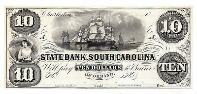 18Xx The State Bank  South Carolina Ten Dollar Obsolete Proof Note   Unl
