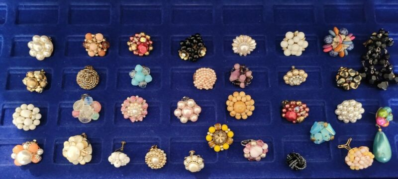 Vintage Clusterbead Single Earring Lot 33.great For Craft Or Matching