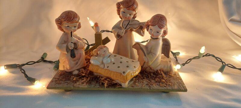 VINTAGE HAND PAINTED STAR JAPAN CHRISTMAS CHOIR ANGELS MANGER SCENE BABY JESUS