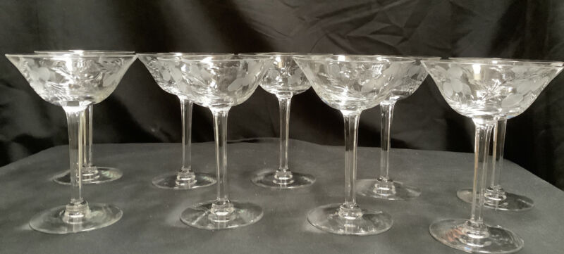 Set of 9 Vintage Etched Champagne Glasses with Frosted Flowers