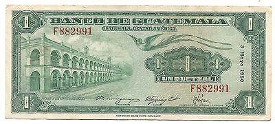 Guatemala Banknote 1 Quetzal 1950 P24 XF Bird Rare Date F Prefix Free Shipping